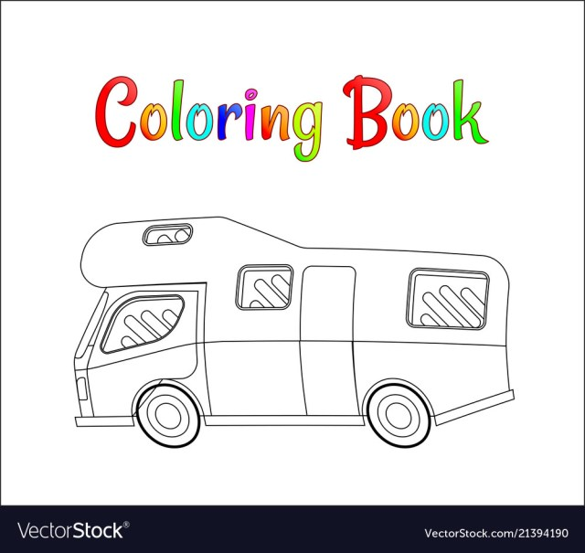 Camping car concept coloring pages Royalty Free Vector Image