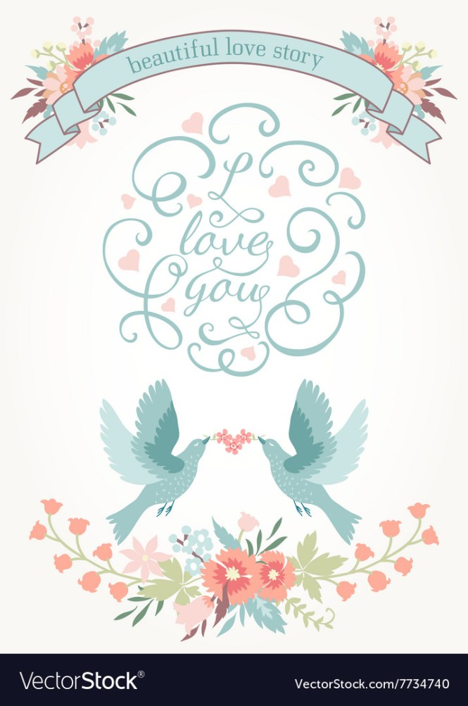 Cute Wedding Invitation With Flowers Love Birds