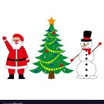 Snowman And Santa Claus With Christmas Tree Vector Image