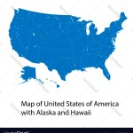 Map United States America With Alaska And Vector Image