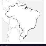 Map Brazil Black Thick Outline Highlighted Vector Image