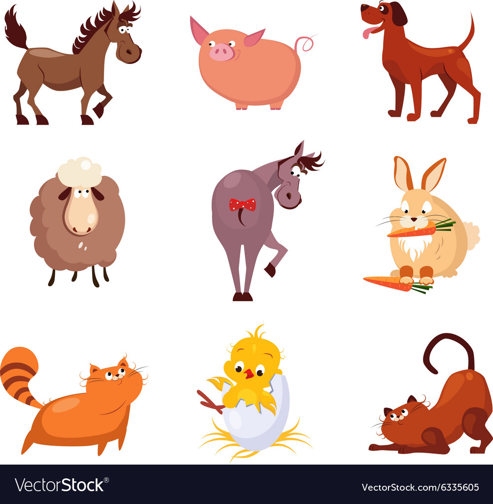 Domestic Animals And Birds Royalty Free Vector Image