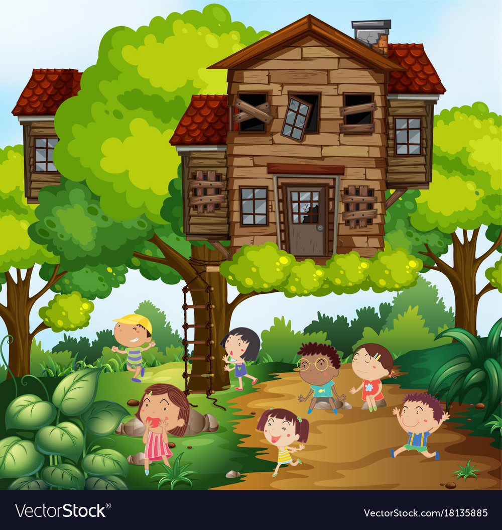 Children And Treehouse In The Park Royalty Free Vector Image