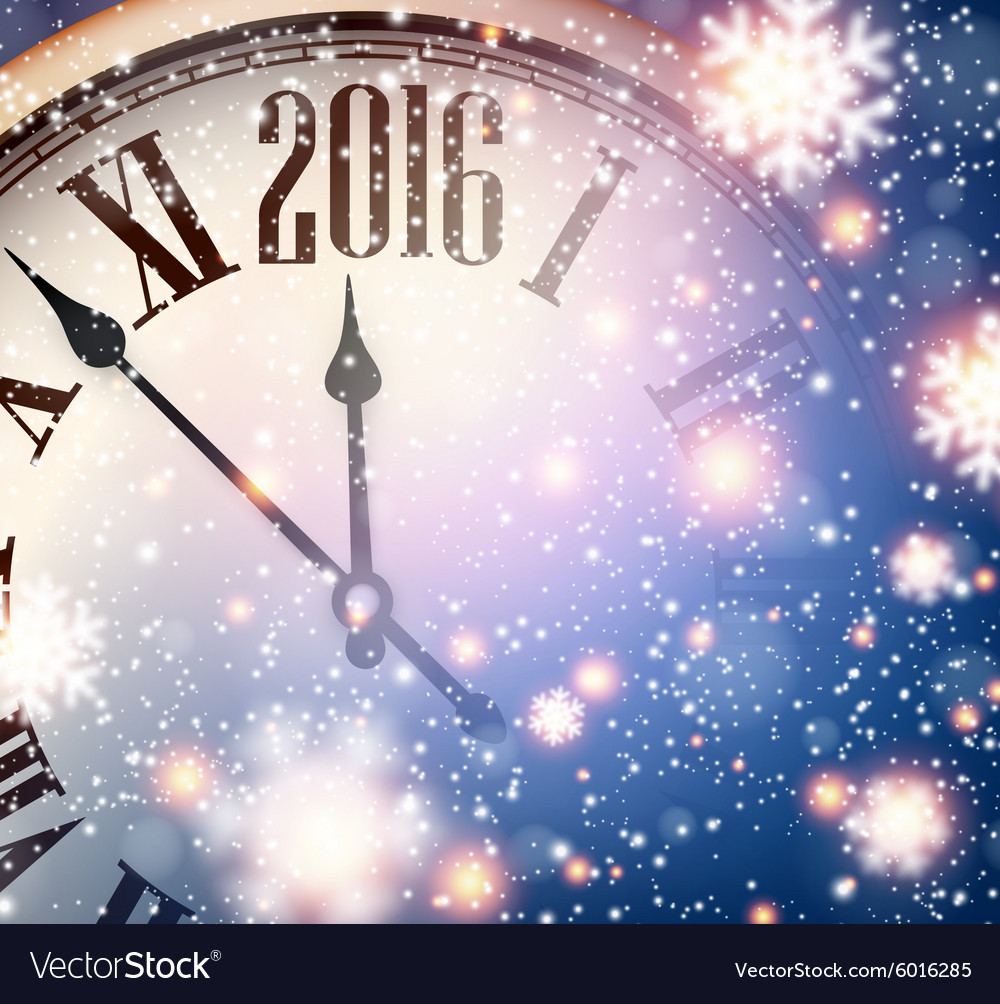2016 New year clock with snowy background Vector Image