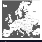 Map Of Europe With Names Of Sovereign Countries Vector Image