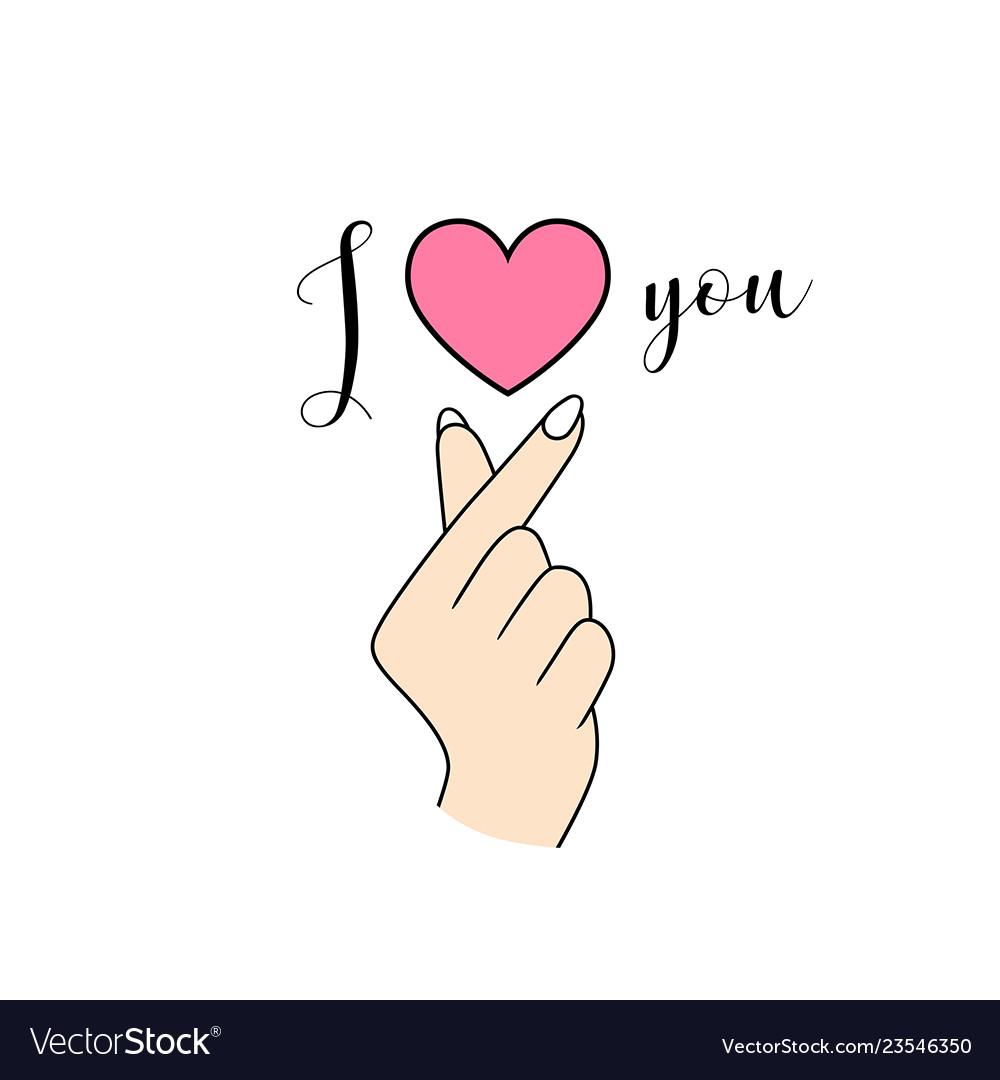 Download Korean symbol hand heart i love you Royalty Free Vector