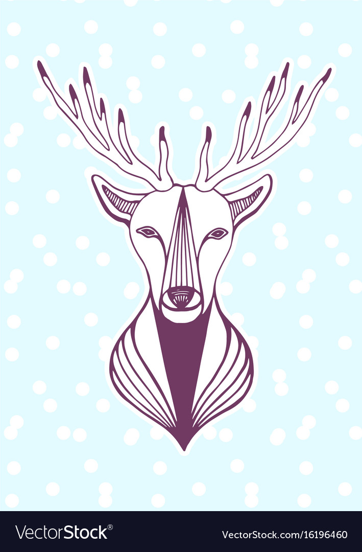 New year artwork with deer head hipster print Vector Image