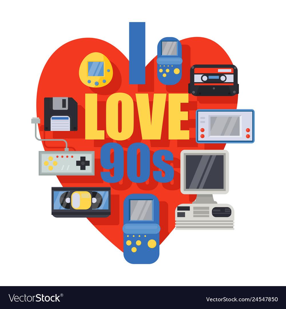Download I love 90s retro symbols banner poster Royalty Free Vector