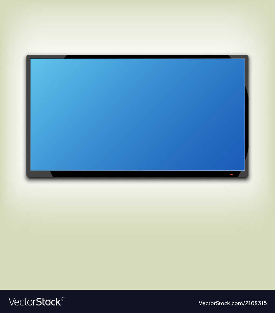 Lcd Or Led Tv Screen Hanging On The Wall Vector Image