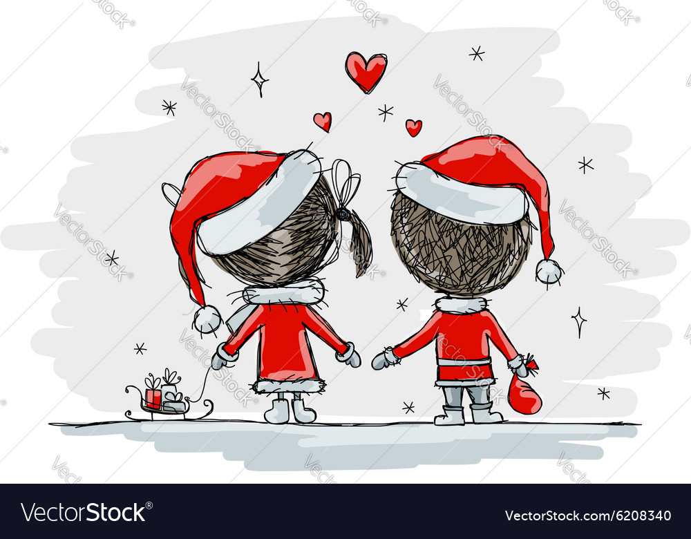 Download Couple in love together christmas Royalty Free Vector Image