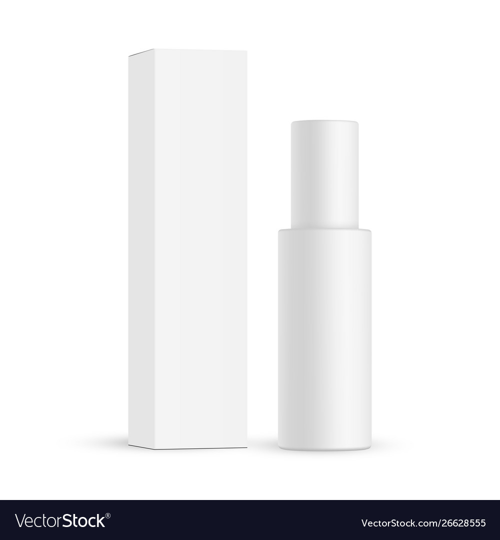 Download Cosmetic bottle with paper box mockup isolated Vector Image