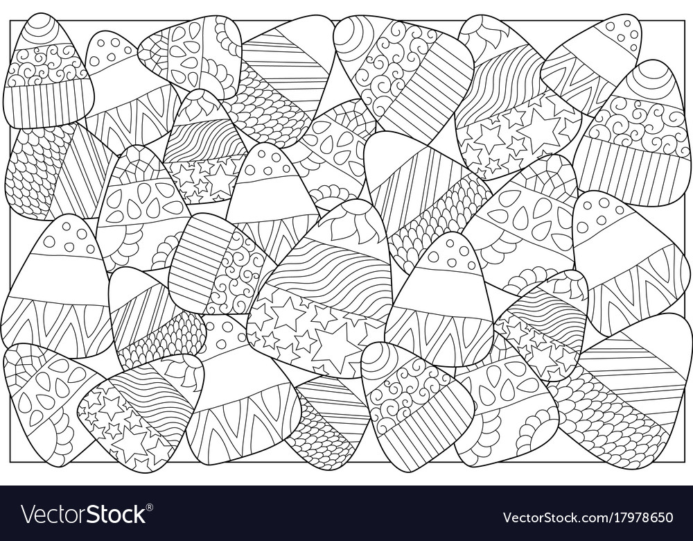 Candy Corn Sweets Coloring Page Candy Corn Vector Image