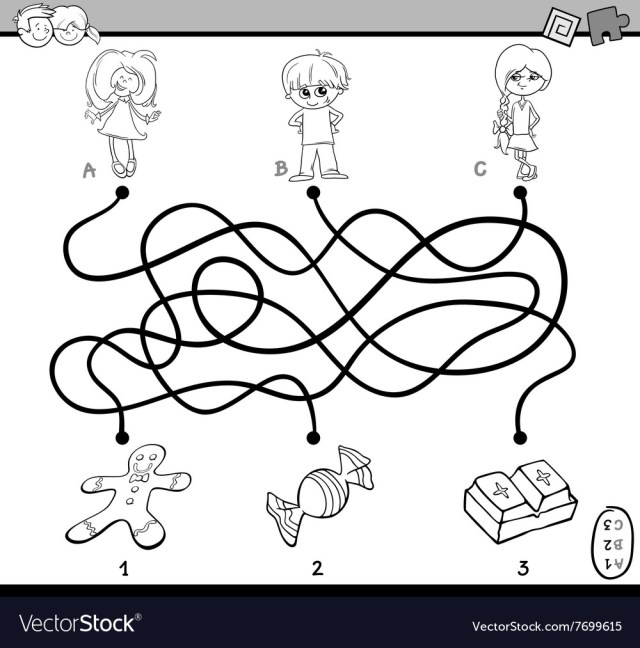 Maze puzzle coloring page Royalty Free Vector Image
