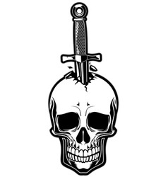 Skull With Dagger Royalty Free Vector Image Vectorstock