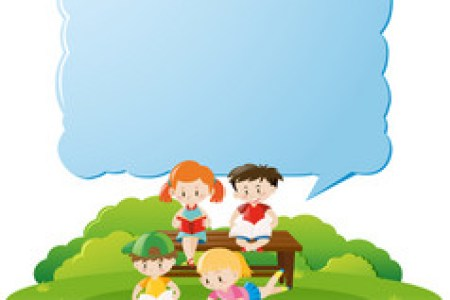 Kids   Border Vector Images  over 5 600  Border template with kids reading books in park vector