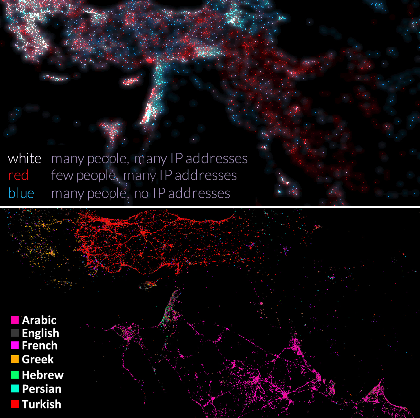 Mapped by Internet connections (top) and by tweets (bottom)