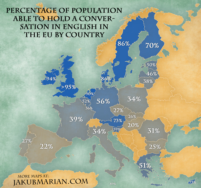 Will Europe One Day Get A Fourth English Speaking Country - Sweden map in english