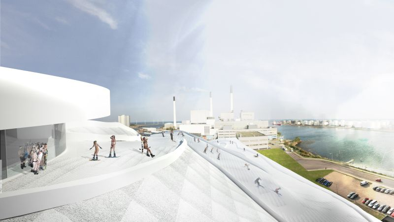 Amager Bakke, a waste-to-energy plant being built in Copenhagen. It's also going to be a ski hill. Seriously.