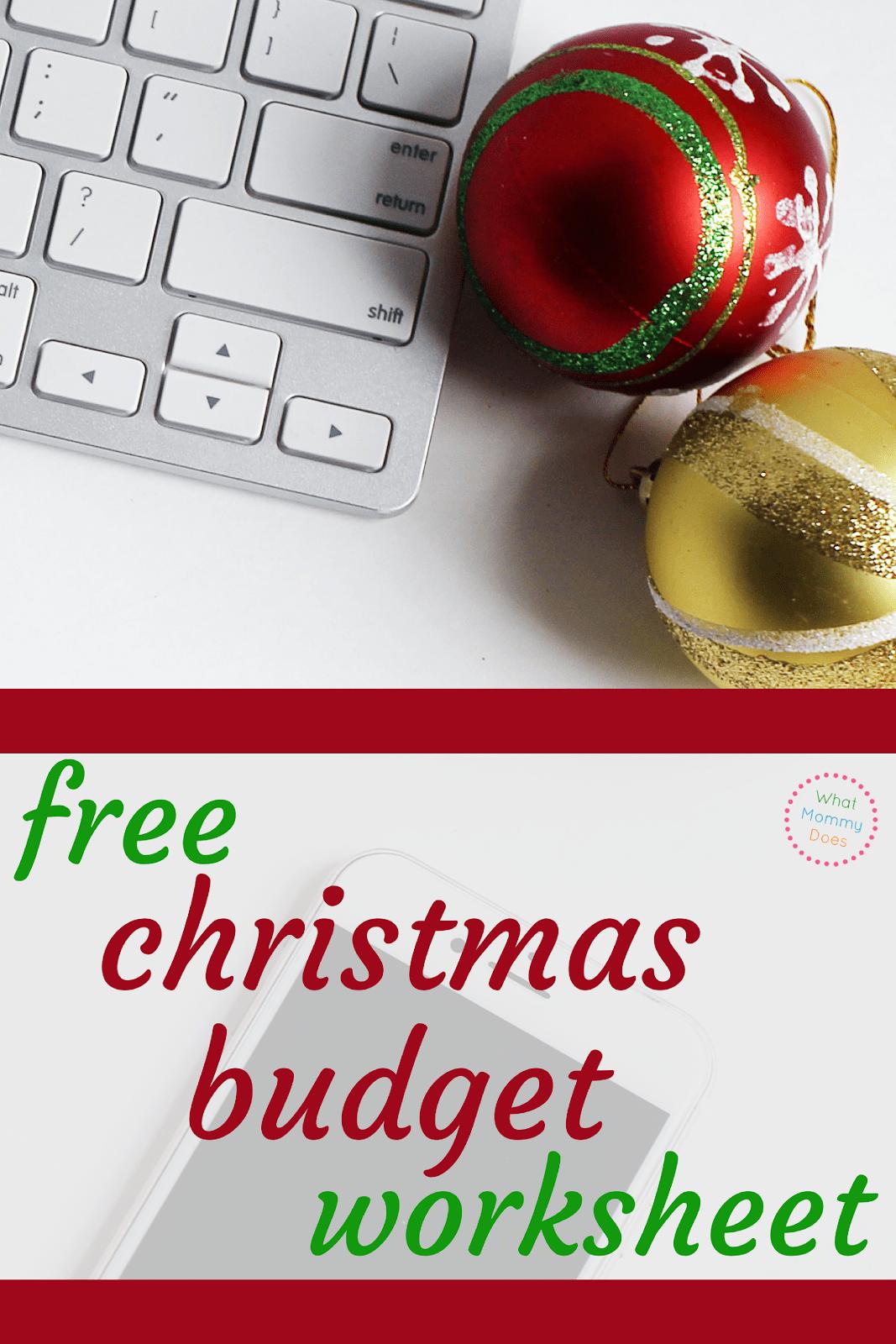 Free Christmas Budget Worksheet