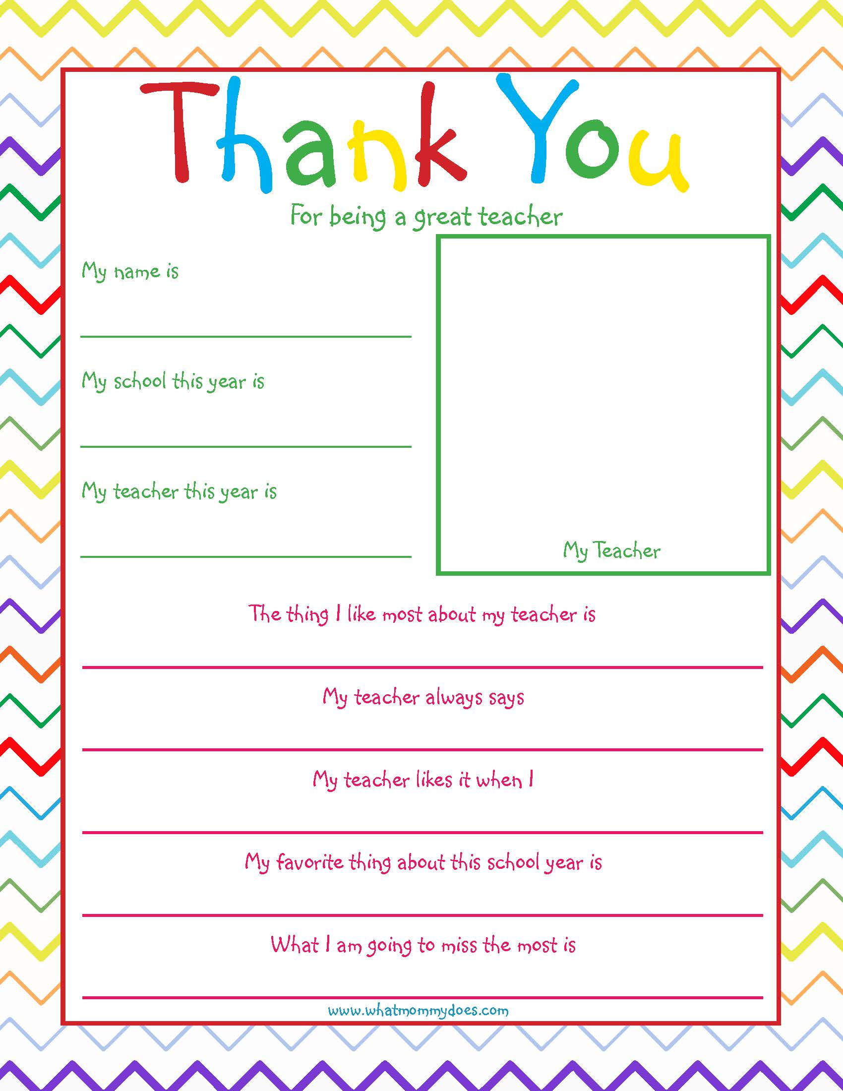 Free Printable Teacher Thank You Note