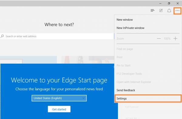 Microsoft Edge - Menü