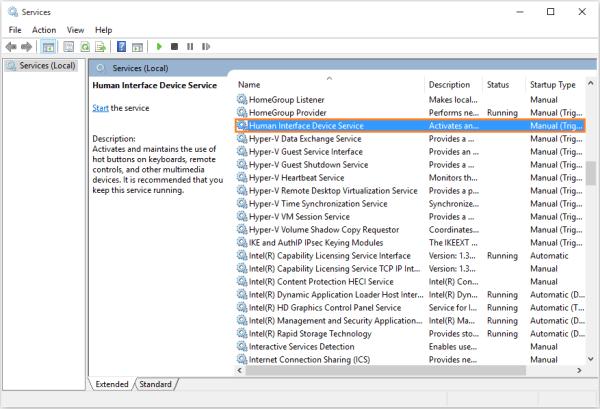 Medientasten - Lokale Dienste anzeigen - Human Interface Device Service - Windows Wally
