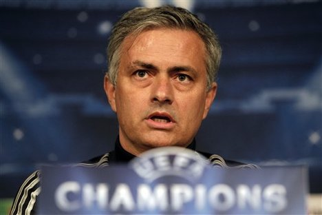 Real Madrid's coach Jose Mourinho from Portugal speaks during a news conference in Madrid, Spain, Tuesday, April 2, 2013. Real Madrid will play Galatasaray Wednesday in a quarterfinal first leg Champions League soccer match.