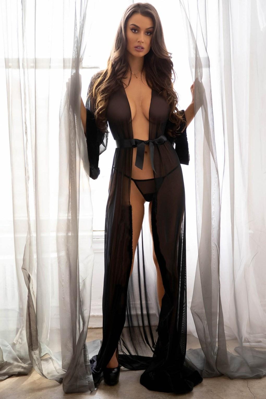 Robe de nuit longue en Tulle pour femmes