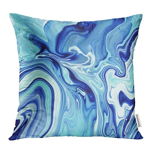 green stone blue marble watercolor water abstract black architecture bright color pillow cases cushion cover 16x16 inch