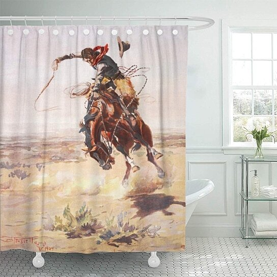 bronco bad hoss charles russell cowboy horse west western bathroom decor bath shower curtain 60x72 inch