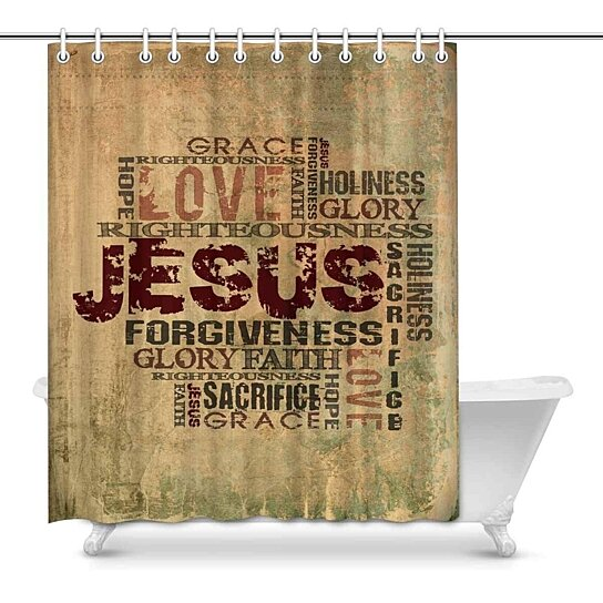christian religious bible verse words cross waterproof polyester fabric shower curtain bathroom sets hooks 60x72 inch