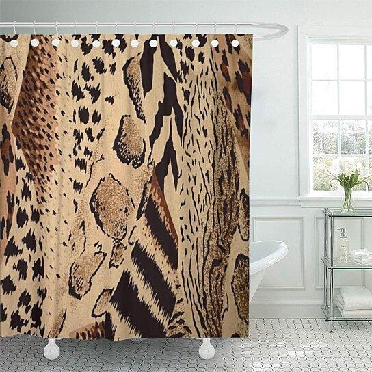 collage mixed safari wild leopards cheetahs giraffes zebras bathroom decor bath shower curtain 60x72 inch