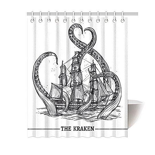 giant octopus kraken shower curtain hooks 60x72 inches black white fabric giant octopus kraken attacks sailing ship ocean sea