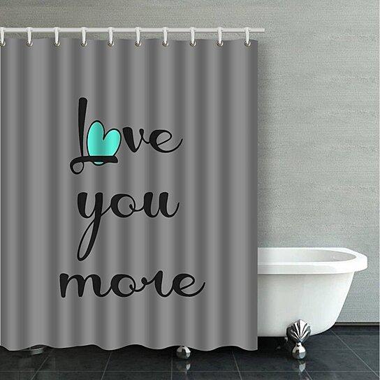 love you more black aqua heart on gray decorative bathroom shower curtain 60x72 inches