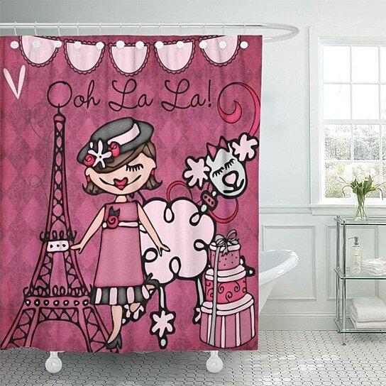 pink cute brunette paris diva little france poodles eiffel bathroom decor bath shower curtain 66x72 inch