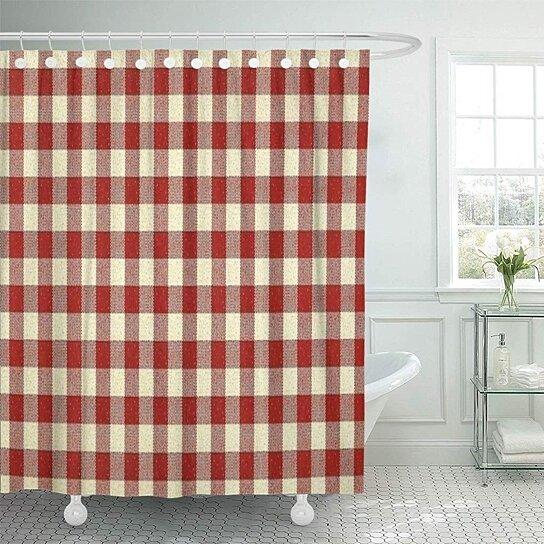 primitive country red 16x16 americana bathroom decor bath shower curtain 66x72 inch