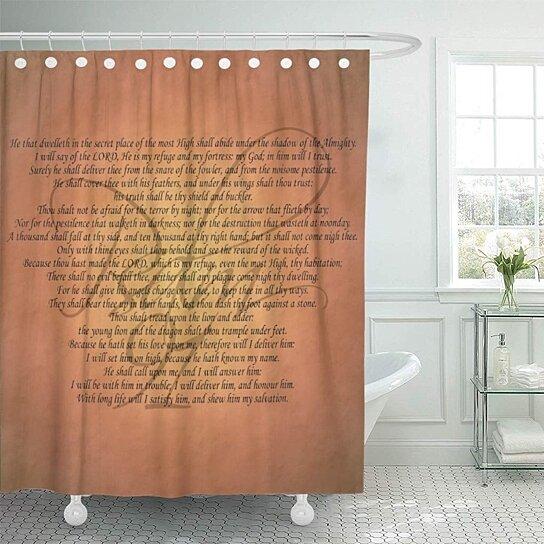 psalm 91 inspirational scripture inspiration faith religion bathroom decor bath shower curtain 60x72 inch