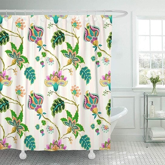 seamless pattern fantasy flowers whimsical floral jacobean striped pastel bathroom decor bath shower curtain 60x72 inch