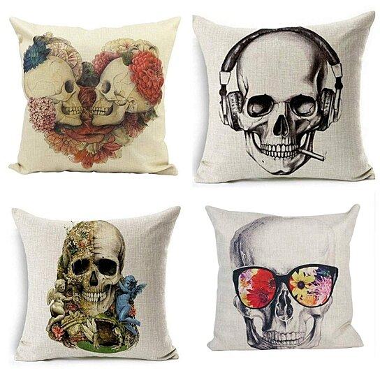 set of 4 pillow cases halloween skull funny pillowcase cushion cover case home decor