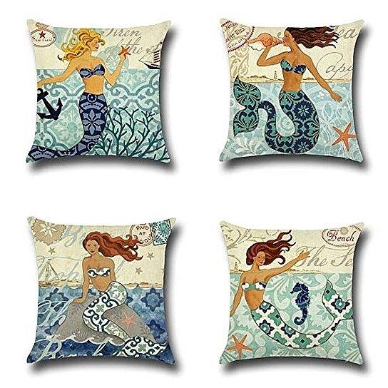 set of 4 pillow cases mediterranean mermaid beach starfish coral seahorse pillowcase cushion cover case home decor