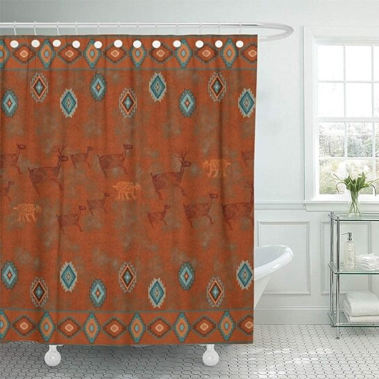 western southwest canyon desert copper turquoise petroglyph tribal bathroom decor bath shower curtain 66x72 inch