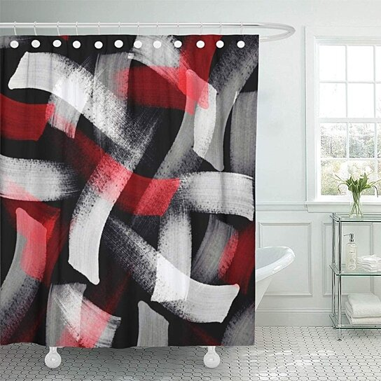 abstract red gray brushstrokes acrylics black shower curtain 60x72 inch