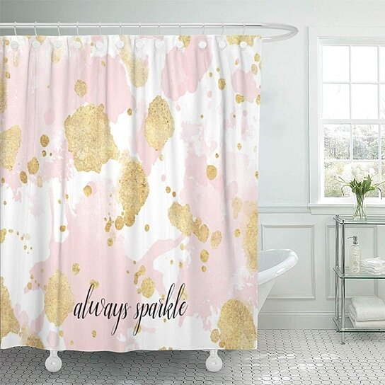 always blush pink gold splatters sparkle glam girly personalized shower curtain 60x72 inch