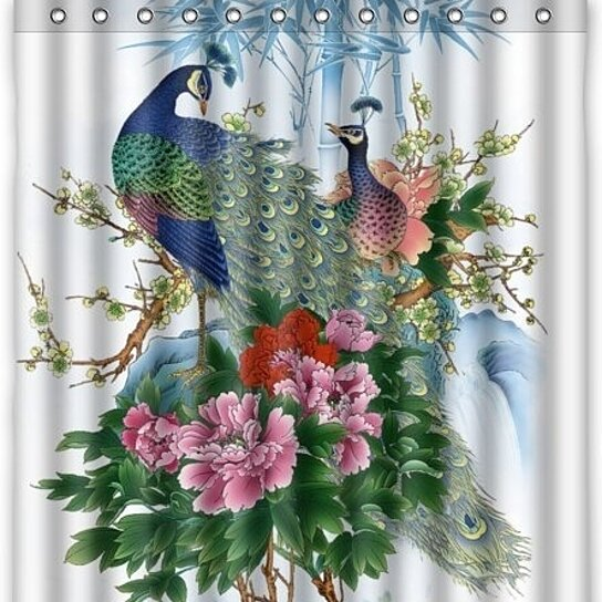 amazing charming peacock shower curtain waterproof polyester fabric shower curtain size 60x72 inches