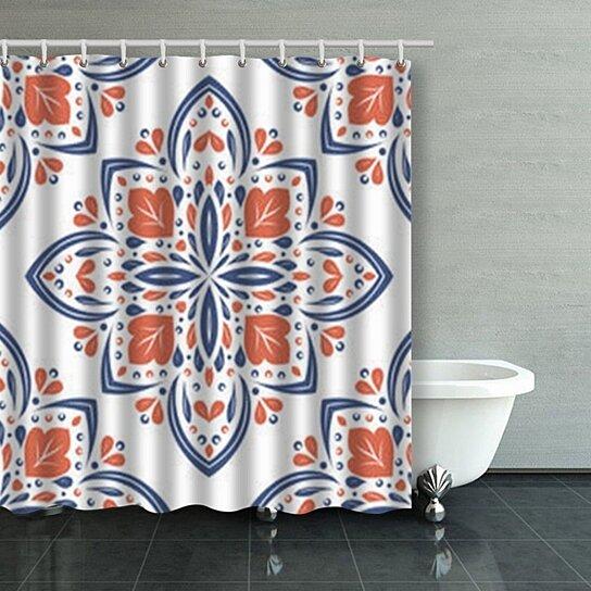 beautiful blue orange floral seamless pattern medallion shower curtains bathroom curtain 66x72 inch