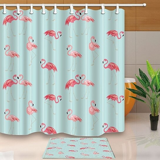 birds decor wallpaper with cute pink flamingo shower curtain 66x72 inches with floor doormat bath rugs 15 7x23 6 inches