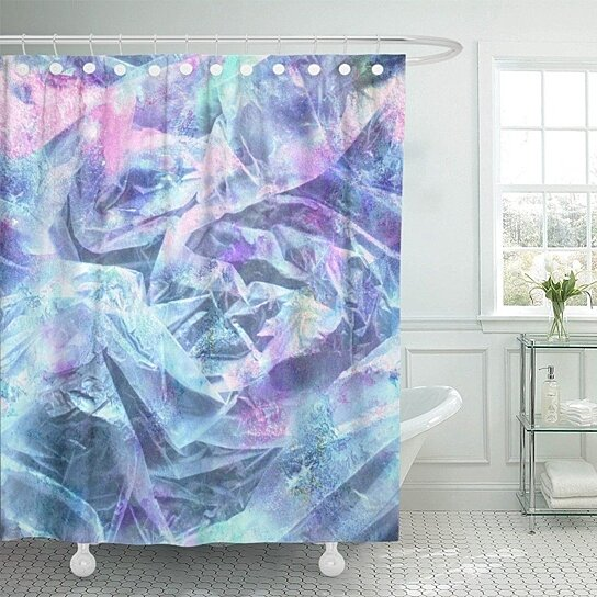 blue holographic with crumpled plastic and iridescent colors pink glam bag cellofane transitions shower curtain 60x72 inch