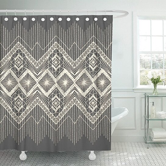brocade floral fringe border knitted woven macrame in boho shower curtain 60x72 inches