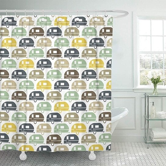 camping happy camper modern retro travel trailer glamping shower curtain 66x72 inch
