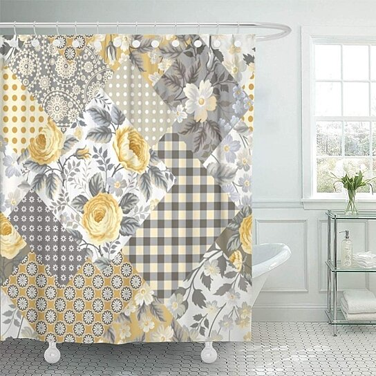 colorful vintage patchwork floral pattern with yellow roses check victorian bathroom shower curtain 66x72 inch